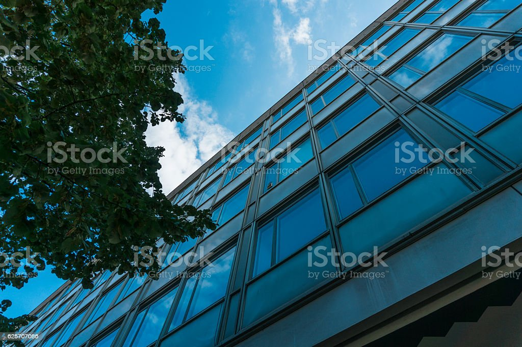 old office building at berlin with tree stock photo