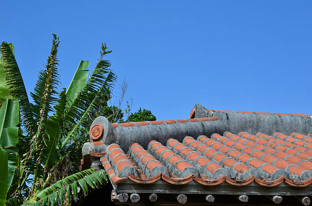 Old okinawan tiled roof stock photo