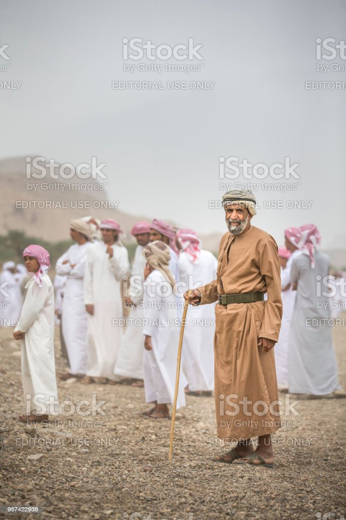 old omani man at a countryside stock photo