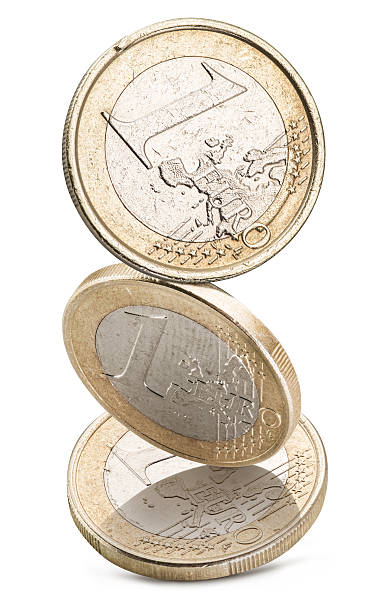 Old one euro coins. Old one euro coins isolated on a white background. File contains clipping paths. european union coin stock pictures, royalty-free photos & images