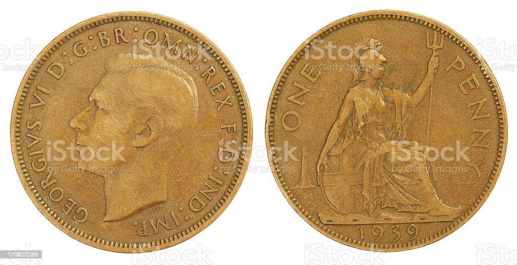 Old One Penny Coin of 1939 stock photo