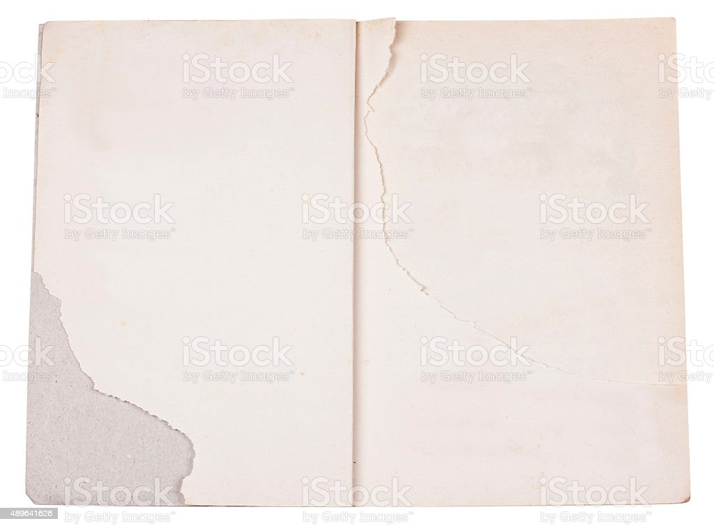 Old open book with torn pages stock photo