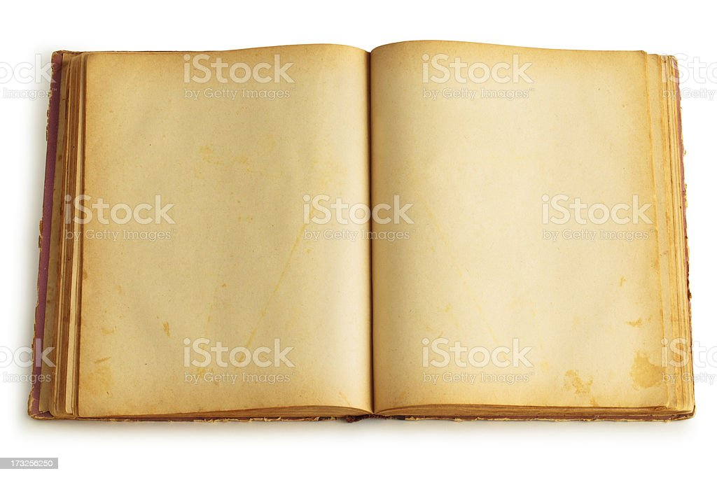 Old opened book stock photo