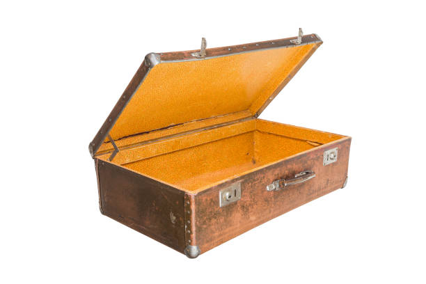 old opened brown soviet fiber suitcase isolated on white background stock photo