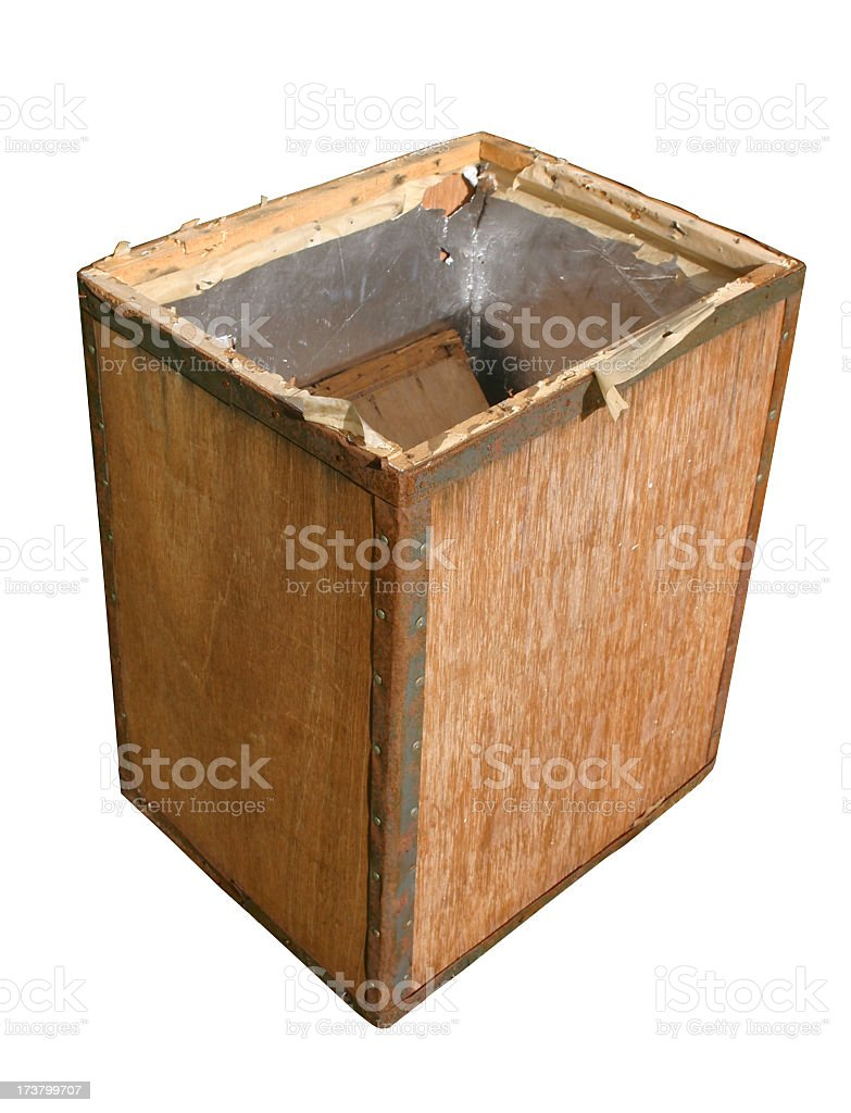 old opened wooden tea chest stock photo