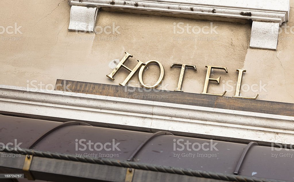 Old or Obsolete Break Hotel Sign stock photo
