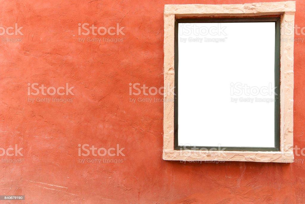 Old orange concrete wall background with white window stock photo