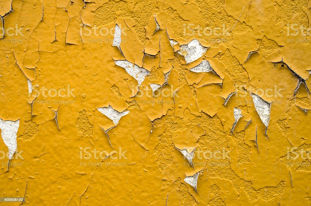 Old orange peeling painted wall stock photo
