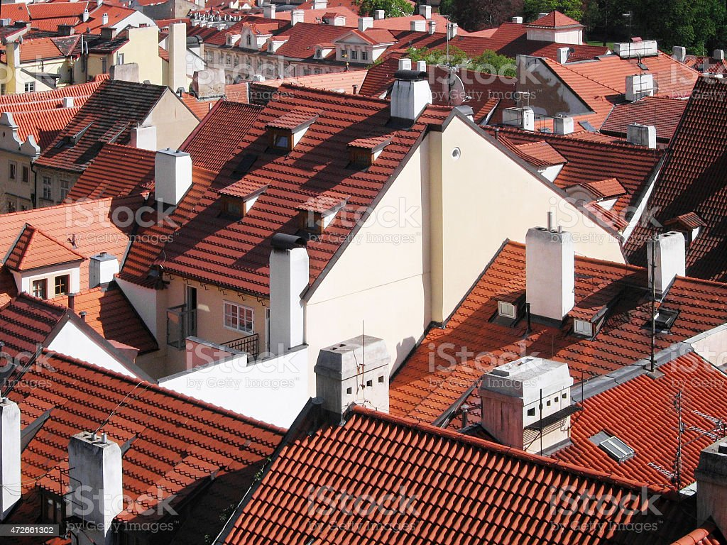 old orange roof tiles from prague castle czech royalty free stock photo