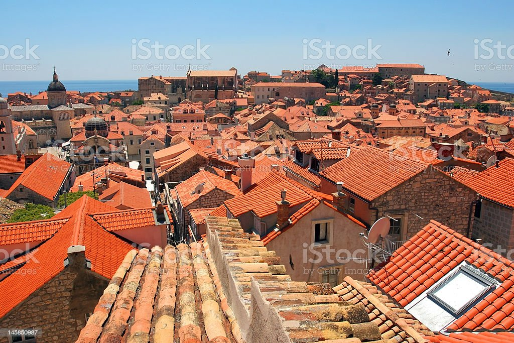 Old orange roof tiles royalty-free stock photo