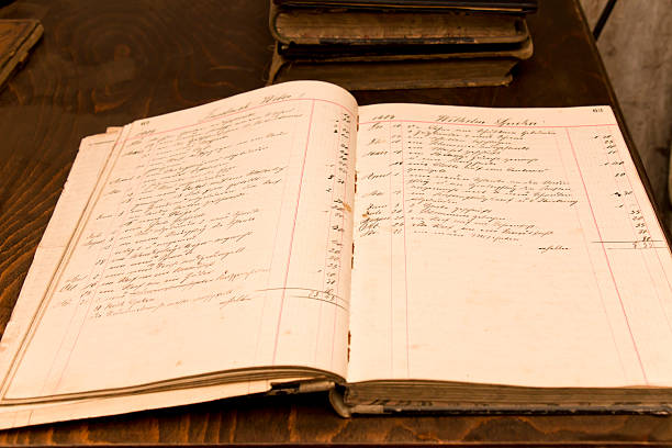 Old Order Book from 1909 Open order book of a blacksmith from 1909, beautiful handwriting. Order and cost for metal work sorted by months and day. accounting ledger stock pictures, royalty-free photos & images
