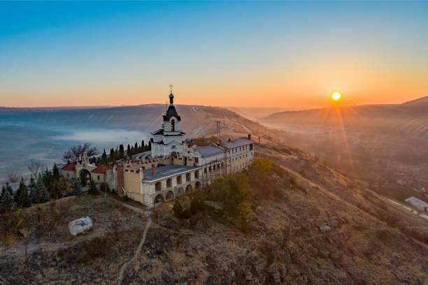 old orhei monastery in moldova sunrise panorama - moldova stock pictures, royalty-free photos & images