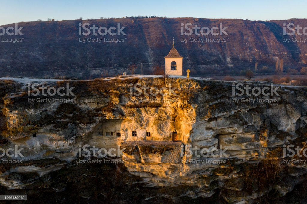 Old Orhei stone carved church at sunset. Aerial view, Moldova Republic stock photo