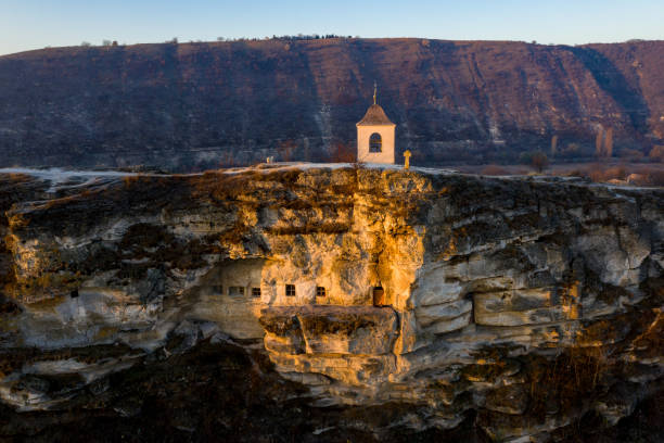 old orhei stone carved church at sunset. aerial view, moldova republic - moldova stock pictures, royalty-free photos & images