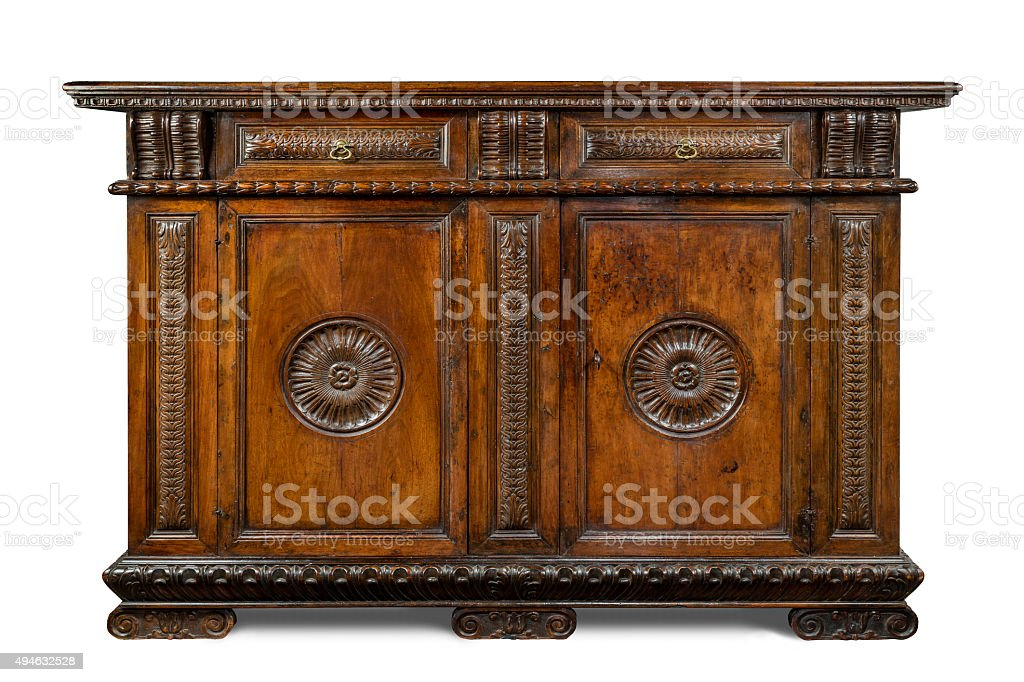 Old Original Vintage Wooden Carved Sideboard Buffet Cabinet Serv  Royalty Free Stock Photo