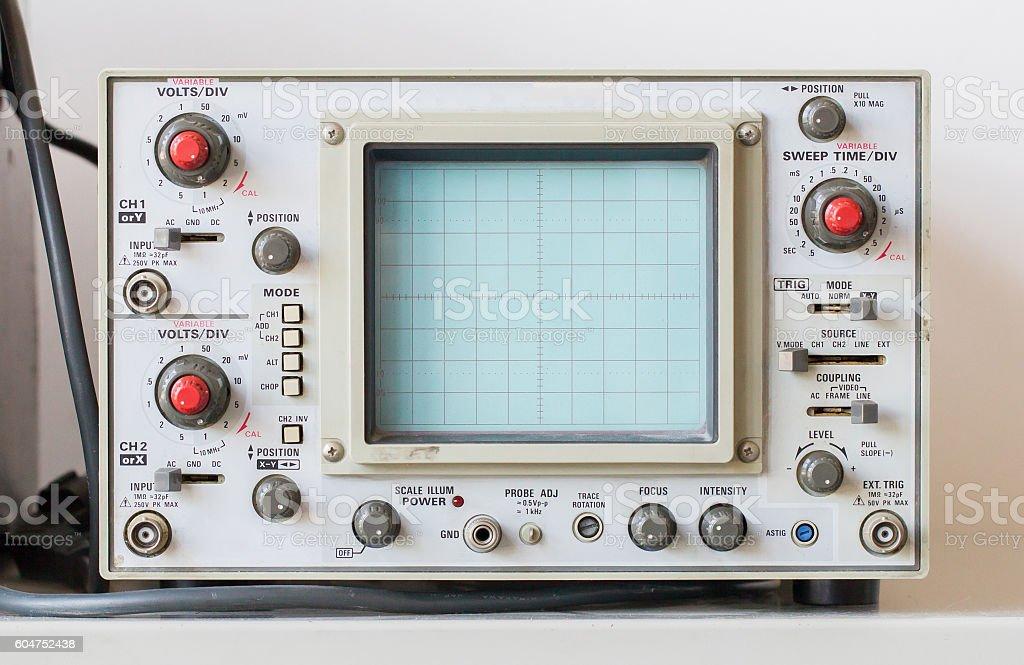 Old oscilloscope, technical equipment stock photo