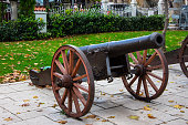 Old ottoman cannon exibited on the overlook of the city of Bursa