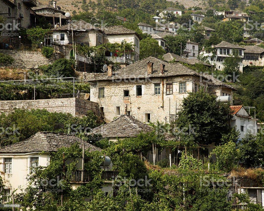 Old Ottoman houses of Gjirokastra, Albania stock photo