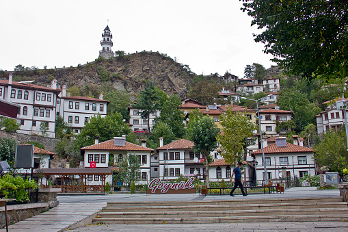 Bolu, Turkey - October 8, 2020: People walking on the street in Göynük Bolu, Turkey in autumn. Göynük is an old ottoman town, there are traditional Ottoman houses in Goynuk, Bolu. Bolu is located north west Turkey black sea region.