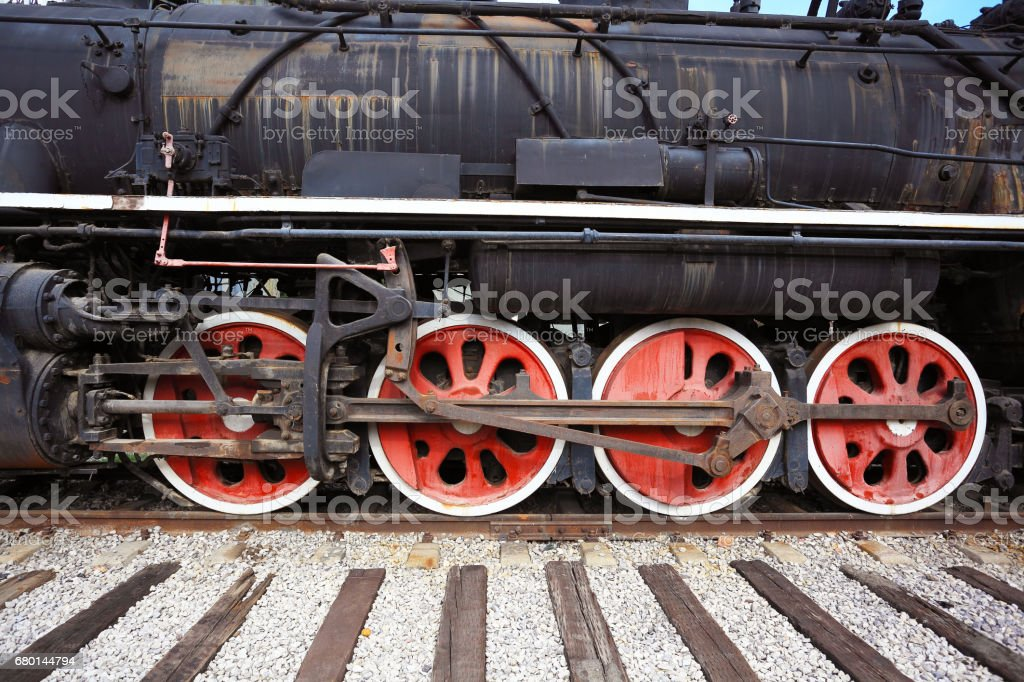 Old out-of-date rust steam train locomotive stock photo