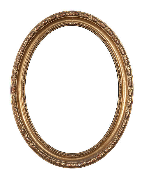 old, oval, golden, inlayed wooden frame. - ellipse stock photos and pictures