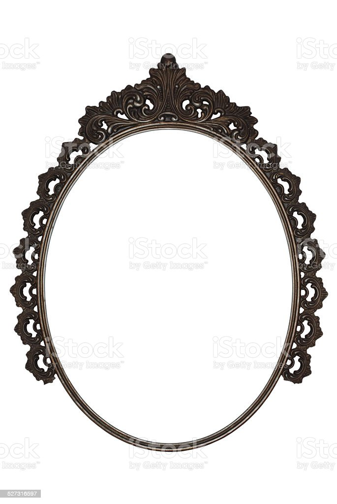 old oval picture frame metal worked on white background stock photo