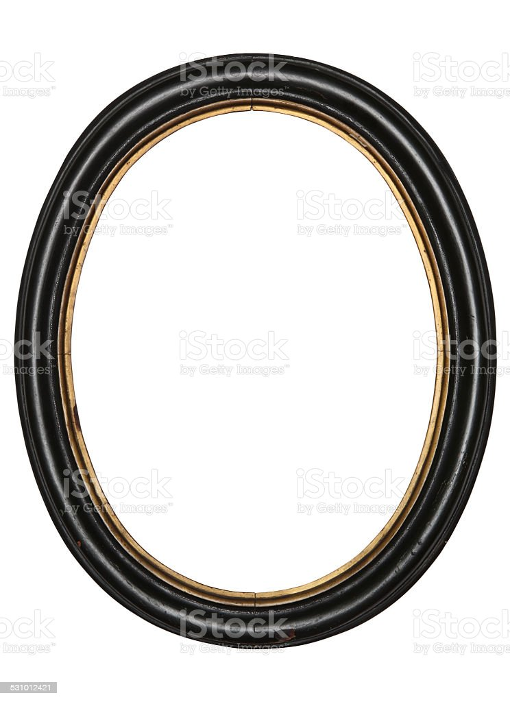 old oval picture frame wooden isolated white background stock photo