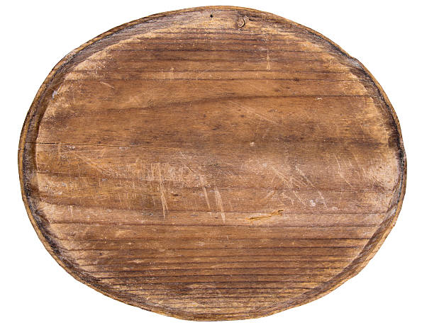 old oval wooden tablet isolated on white background - ellipse stock photos and pictures