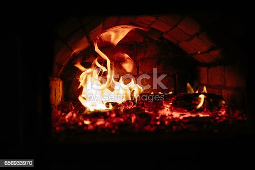 istock old oven with flame fire 656933970