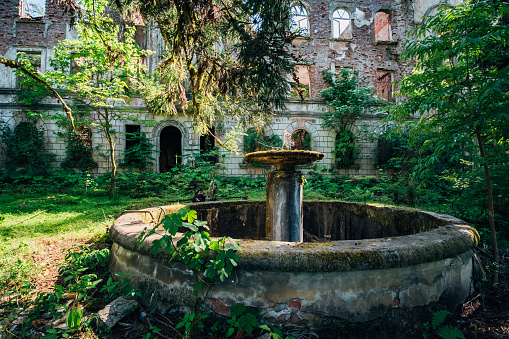 Old overgrown round broken fountain near ruins of abandoned mansion