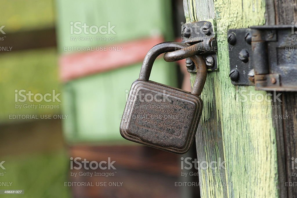 Old padlock of the german manufacturer ABUS royalty-free stock photo