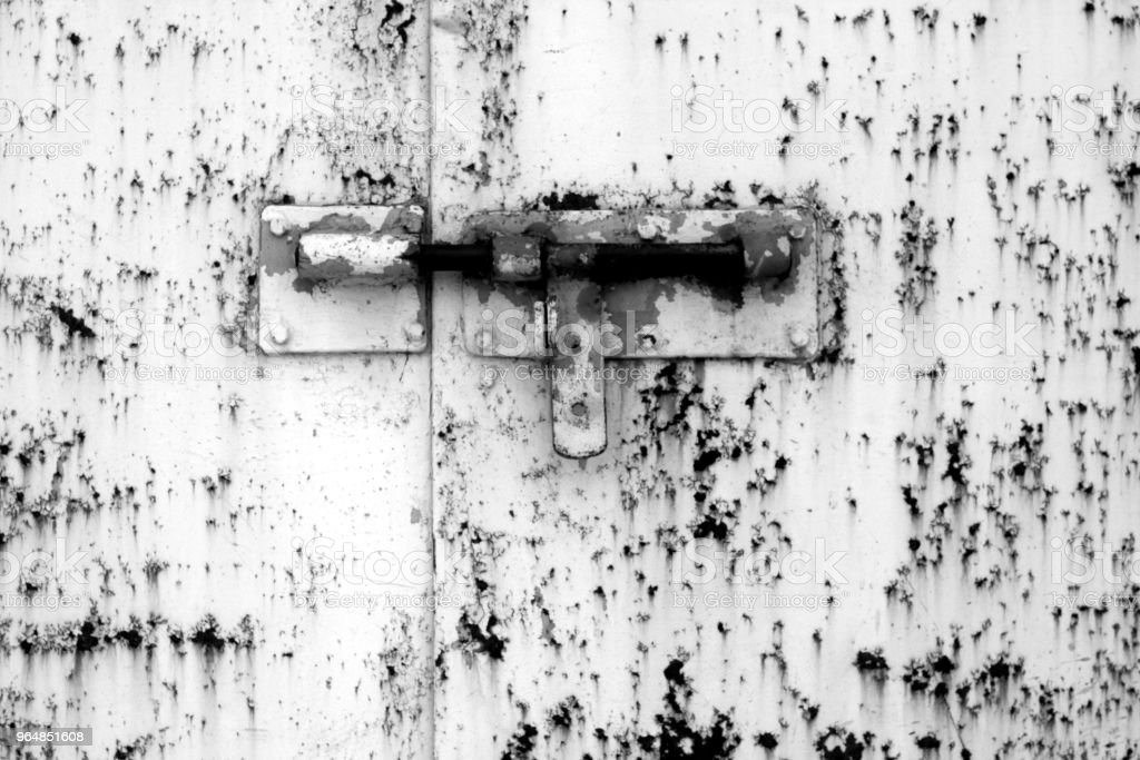 Old padlock on metal gate in black and white royalty-free stock photo
