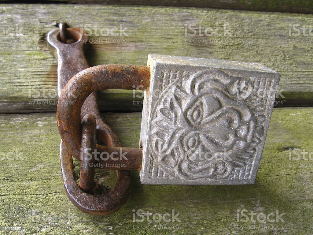 Old padlock stock photo