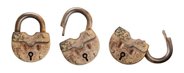 Old padlocks on white background stock photo