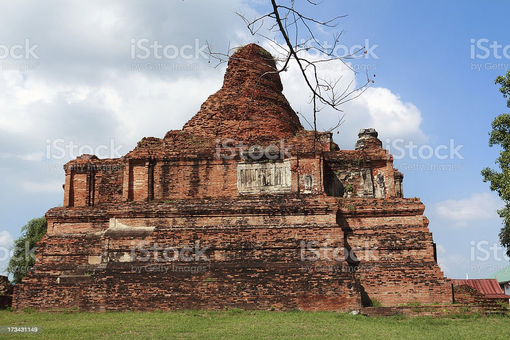 Old pagoda with blue sky in Ayutthaya royalty-free stock photo