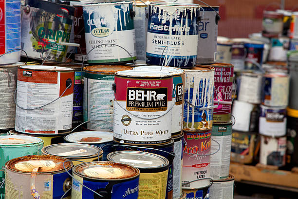 old paint cans - latex stock pictures, royalty-free photos & images