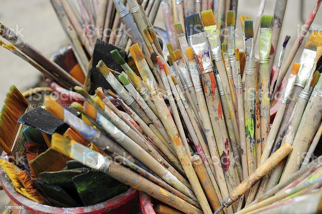 Old paintbrushes royalty-free stock photo