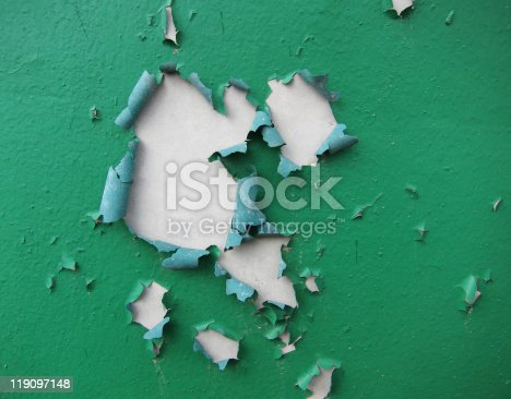 close-up of peeling painted wall