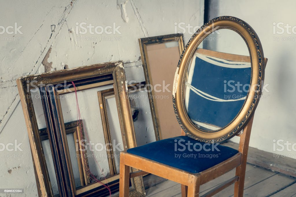 Old paintings frames stock photo