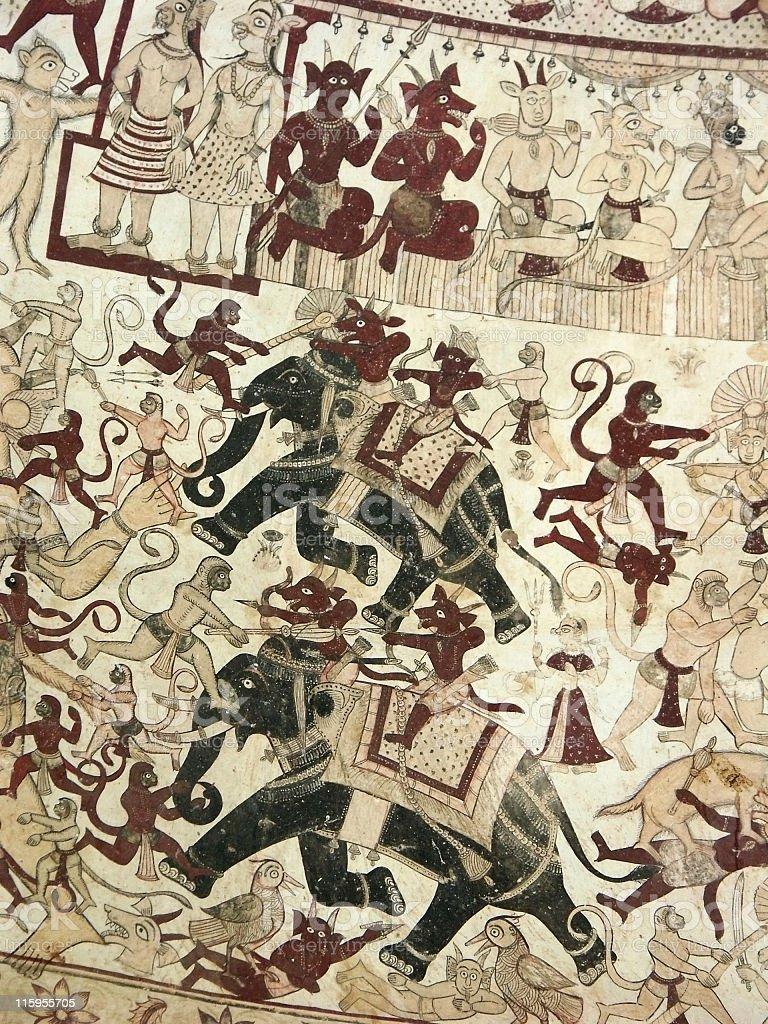 Old paintings,Parsrampura, Rajasthan,India royalty-free stock photo