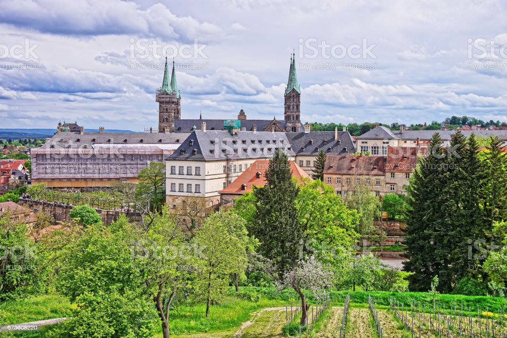 Old palace and Bamberg Cathedral in city center Bavaria stock photo