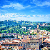 Aerial view of Palazzo Vecchio in Florence, Tuscany, Italy. Composite photo