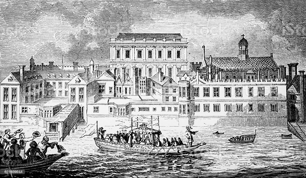 Old Palace of Whitehall from the River Thames stock photo