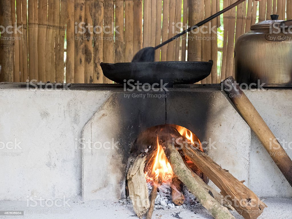 old pan boils on stove stock photo