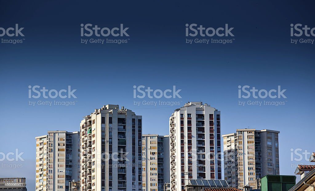 Old panel apartments stock photo