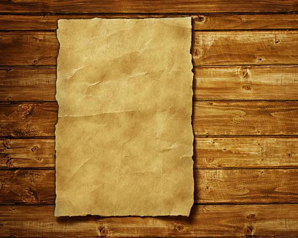 Alte Papier auf Braun Holz und – Foto