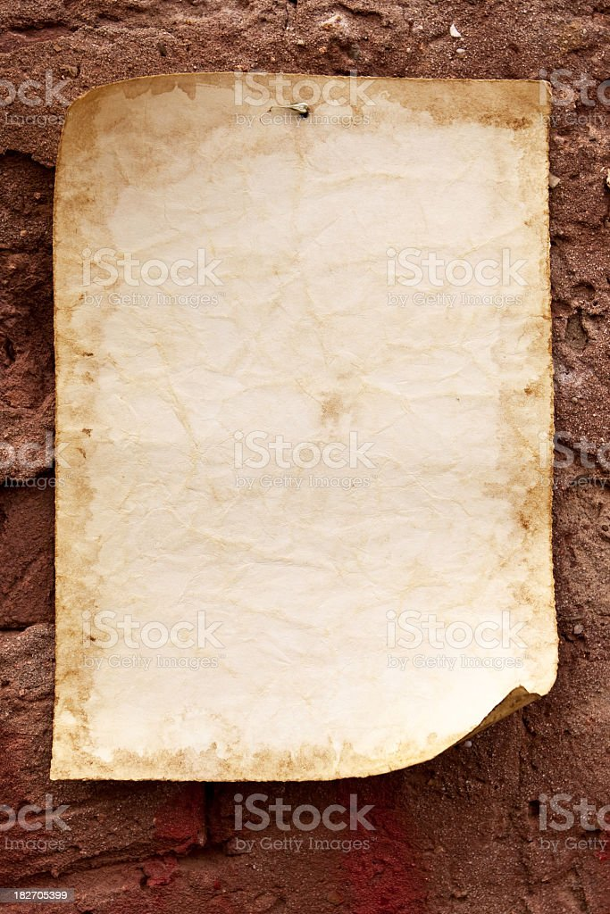 Old paper and wall royalty-free stock photo