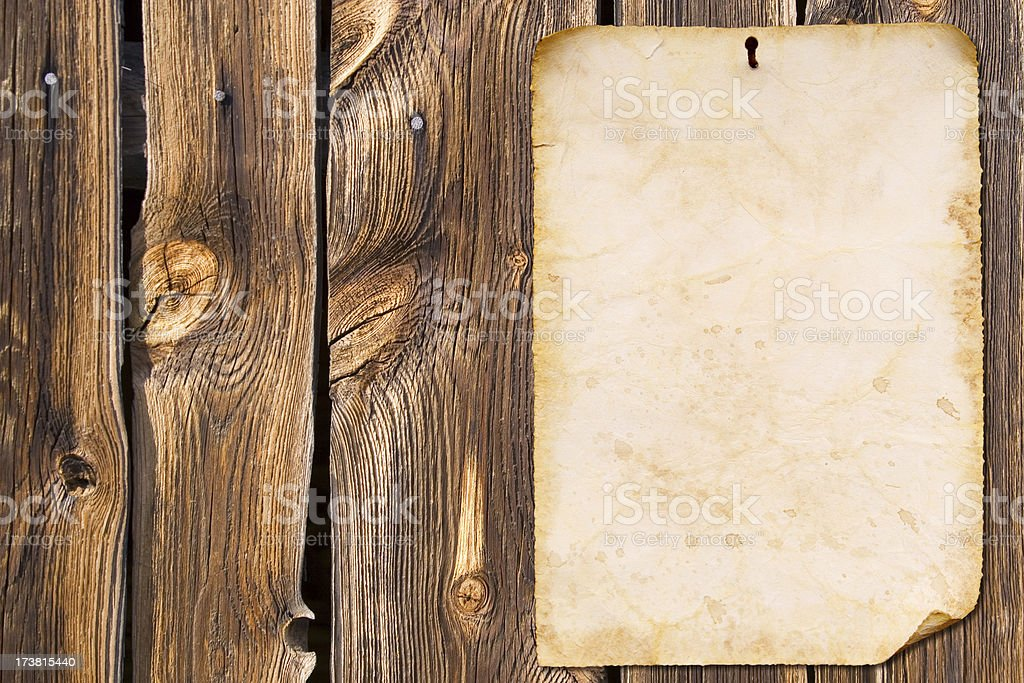 Old paper and wood background wall stock photo