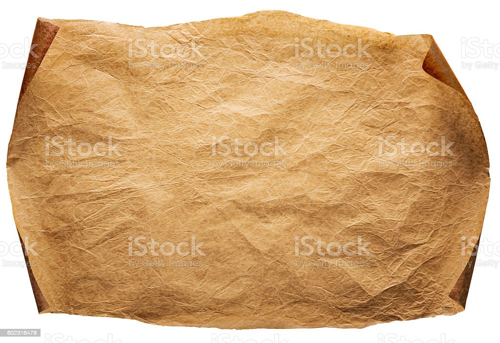 Old Paper Background, Curled Brown Parchment, Ancient Page, White Isolated stock photo