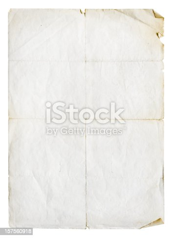 Worn and torn unfolded paper isolated on white